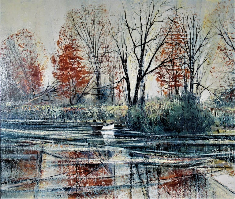 Autumn River Bank - American Impressionist Painting by Richard Ellis Wagner