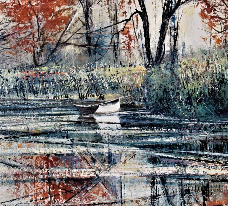 Autumn River Bank - Gray Figurative Painting by Richard Ellis Wagner