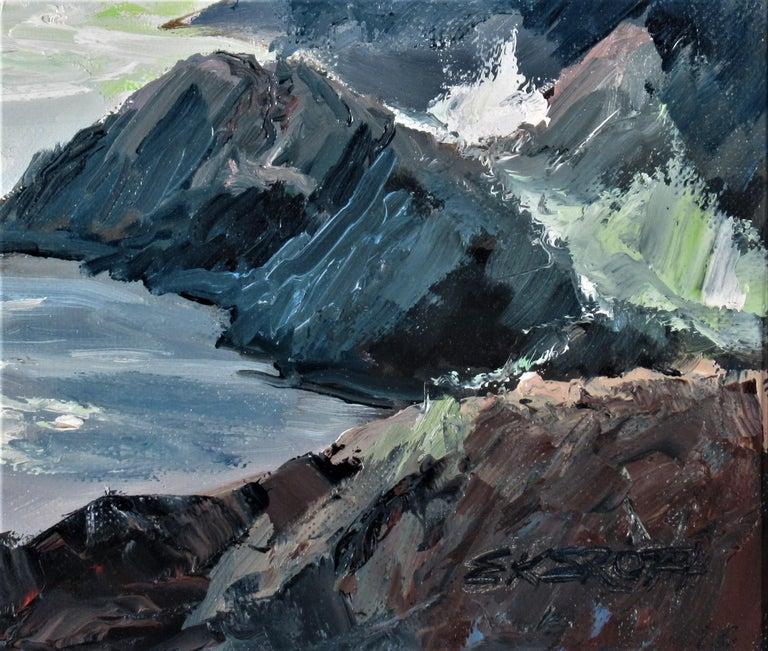 Seascape Near Monterey - Black Figurative Painting by Elmer Frederick Ekeroth