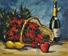 Still Life with Bottle, Flowers and Fruits