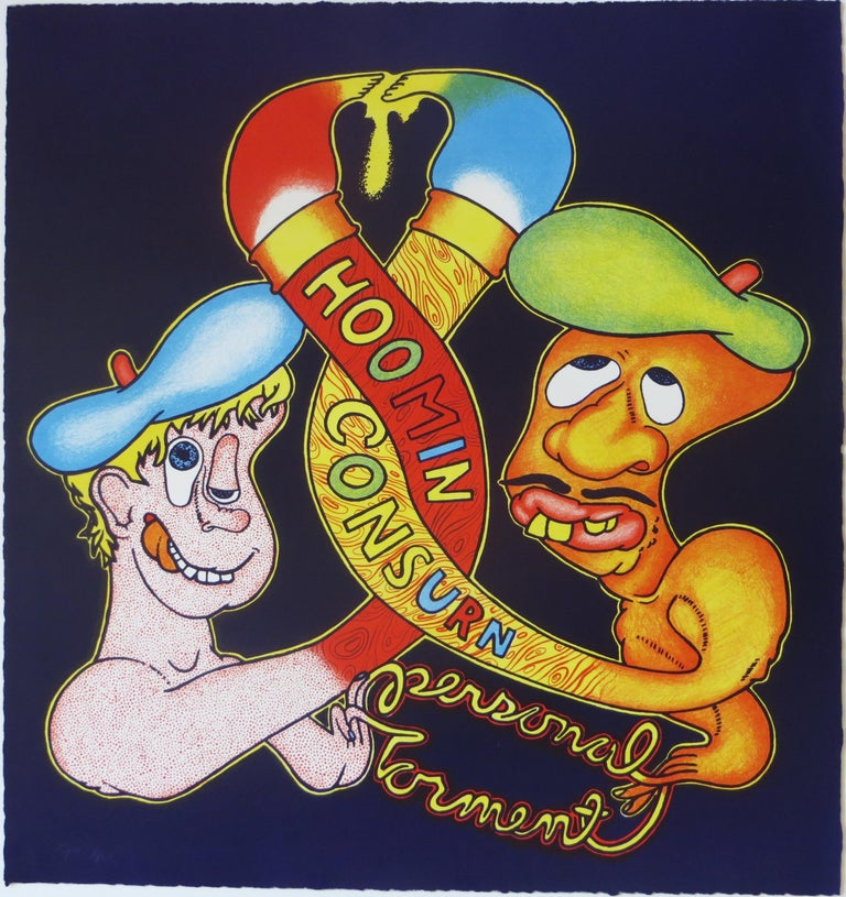 Artist: Peter Saul – American (1936 -) Title: Hoomin Consurn / Personal Torment Year: 1969 Medium: Lithograph Size: 24.25 x 21 inches.  Publisher: Collector's Press, San Francisco Edition: 50.  Signature: Signed, dated lower right.  Numbered : 3/50