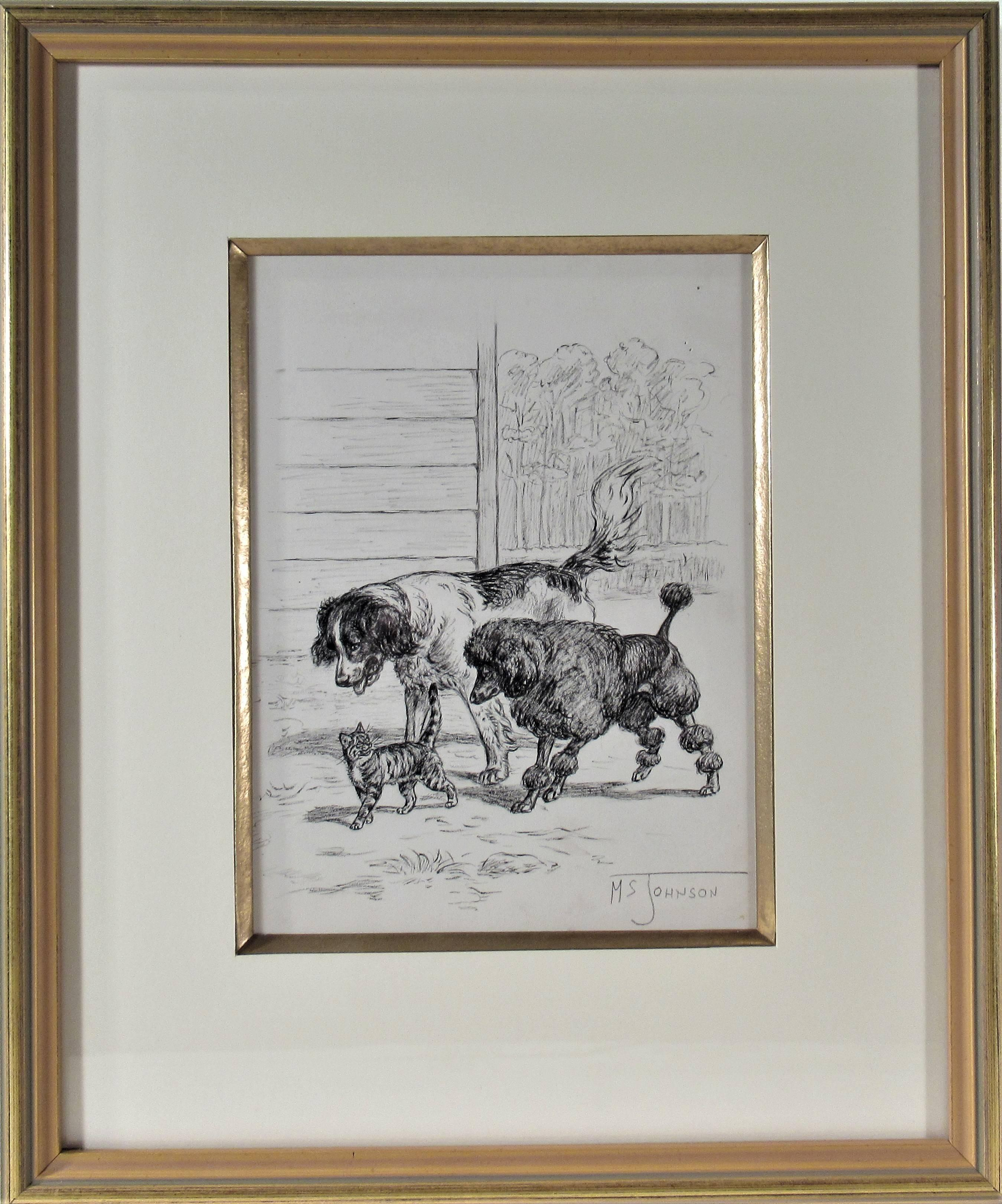 """""""Two Dogs, One Cat Walking"""" Original ink drawing"""