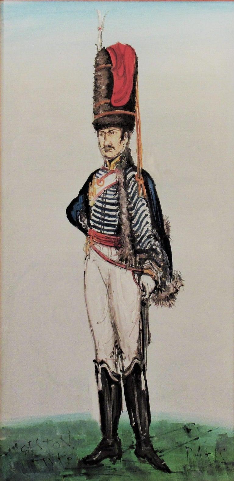 Hussard du Premier Empire, Paris - Painting by Gaston Tyco