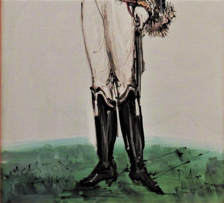 Hussard du Premier Empire, Paris - Brown Figurative Painting by Gaston Tyco
