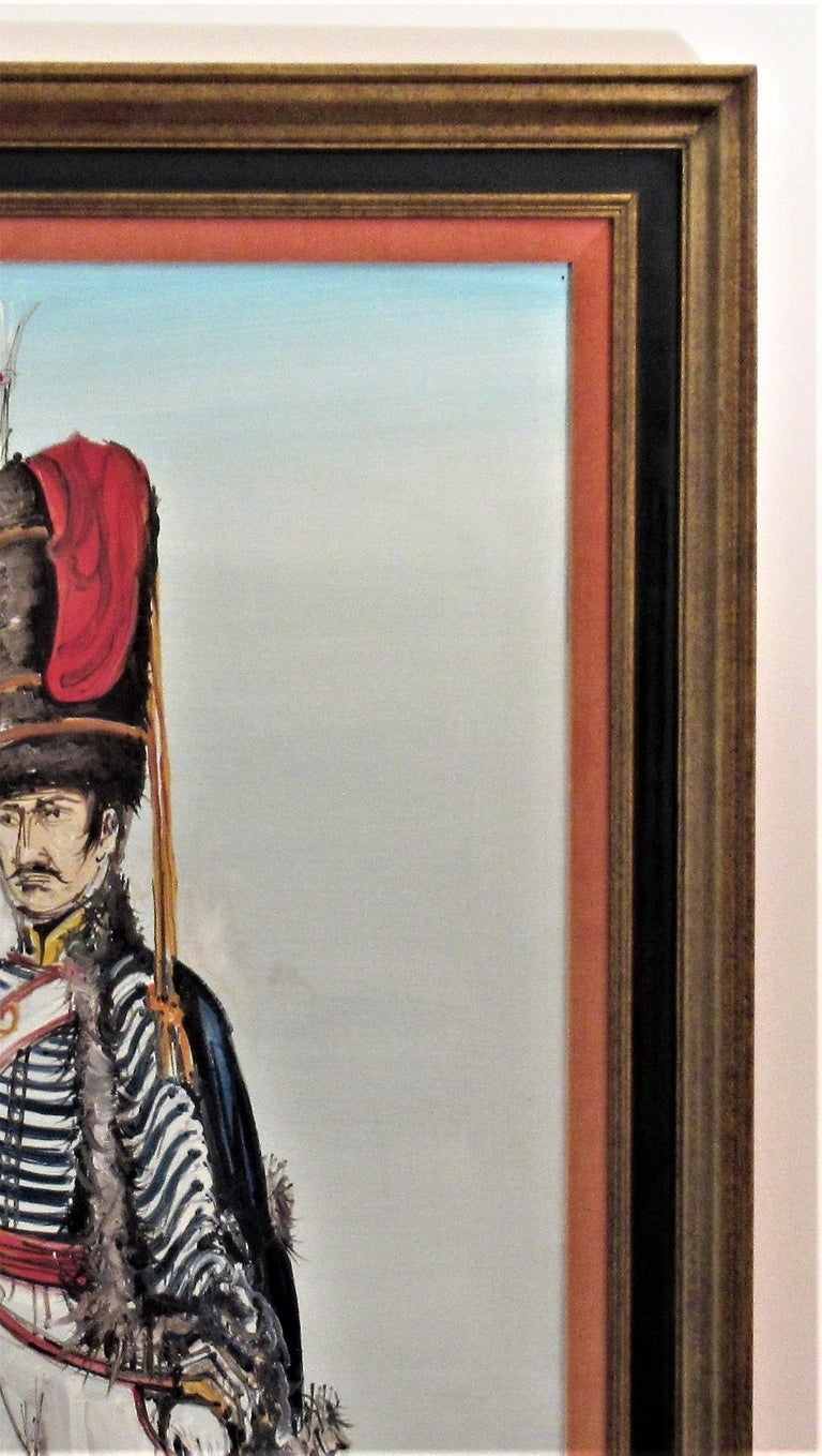 Artist:  Gaston Tyco (French, born 1918) Title: Hussard du Premier Empire, Paris. Year:  Circa 1960 Medium:  Oil on canvas Canvas size: 40.75 x 21.5 inches Framed size:  45.75 x 25.75 inches Signature:  Signed lower left by the artist Condition: The