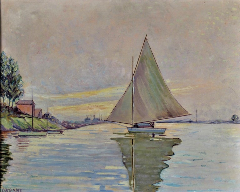 Sailboat on the Lake - Painting by Otto Krone