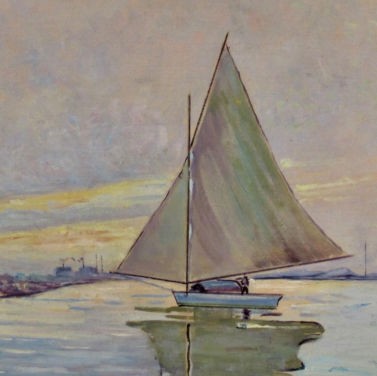 Sailboat on the Lake - Impressionist Painting by Otto Krone
