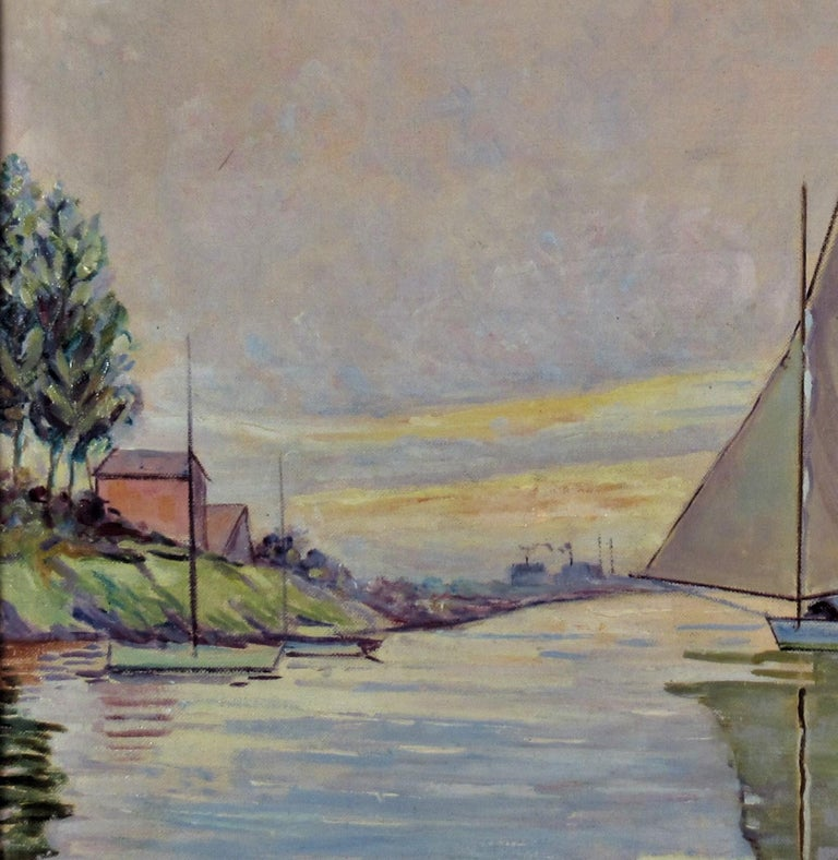 Sailboat on the Lake - Gray Landscape Painting by Otto Krone