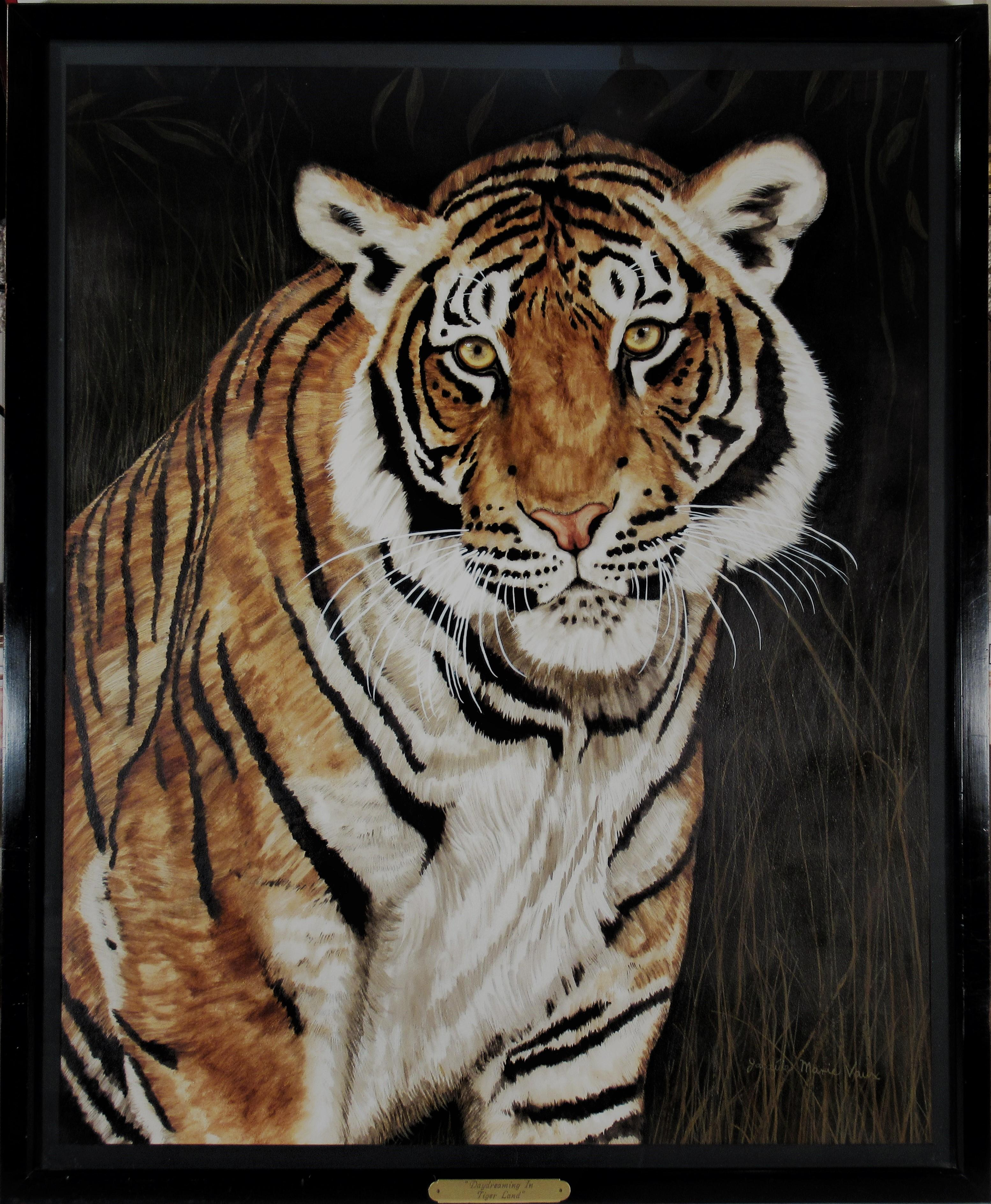 Daydreaming in Tiger Land, large watercolor and gouache