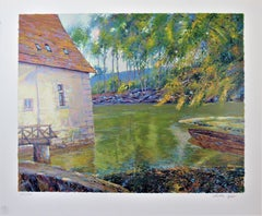 """Landscape with Pond"" Large original color serigraph"