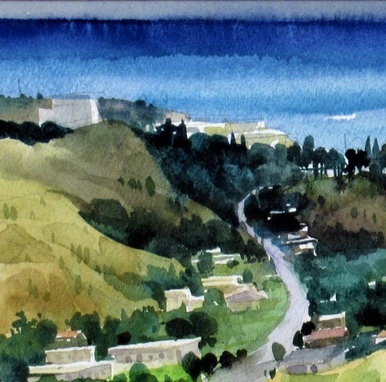 Overlooking the Bay - Brown Landscape Art by Ephraim Samson