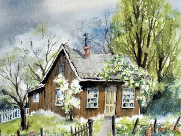 Landscape with House - American Impressionist Art by Rachel Bentley
