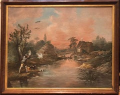 A Large 18th Century Hunting painting of Duck Flighting