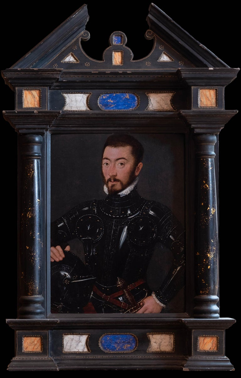 French Court Painter circa 1560 Figurative Painting - An exquisite 16th century painting of a Nobleman in Armour