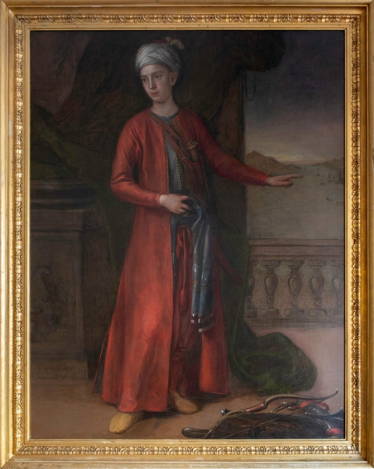 Attributed to George Knapton Figurative Painting - 18th C. Portrait of the 4th Earl of Sandwich a View of Constantinople Beyond