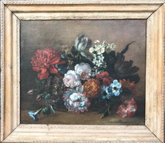 Oil Painting Still Life with Flowers (Parrot Tulip, Roses, Poppies)