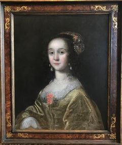 17th Century Oil Painting Portrait of Lady in Yellow Dress & Embroidered headdre