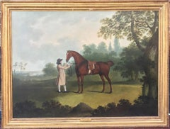 18th Century Oil Painting of Horse and his master - Hunter and Huntsman
