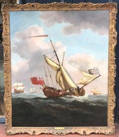 Van de Velde 17th Century Seascape Painting of Charles II' Yacht HMS Henrietta