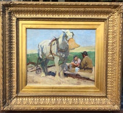 English Newlyn School Impressionist Oil Painting of A Rest From Ploughing