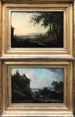 Stunning Pair of 18th Century Arcadian English Landscapes