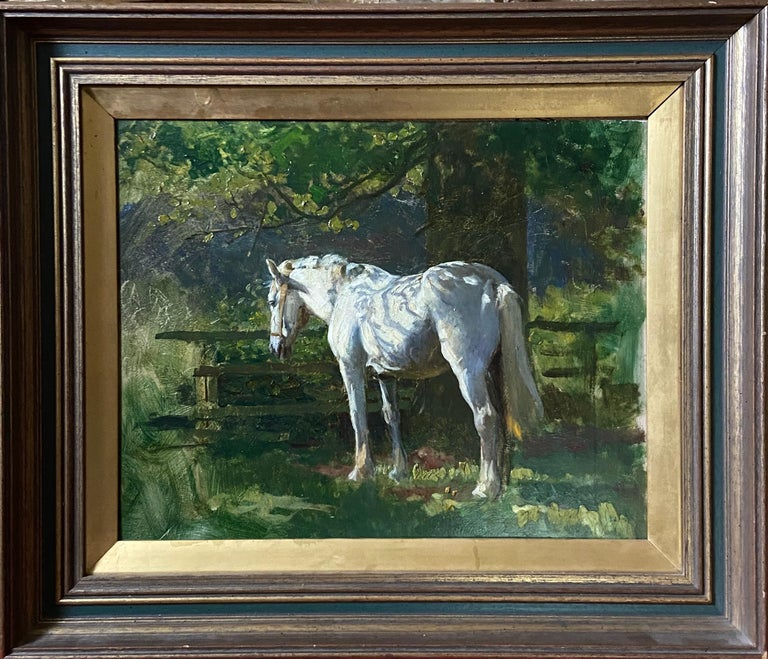 Lucy Kemp Welch Animal Painting - A dappled Grey in the Orchard