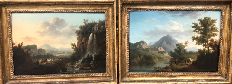Petit Landscape Painting - Pair of 18th Century Landscapes on Panel