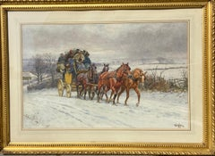 Gorgeous 19th Century Watercolour of a Horse-Drawn Carriage in the Snow