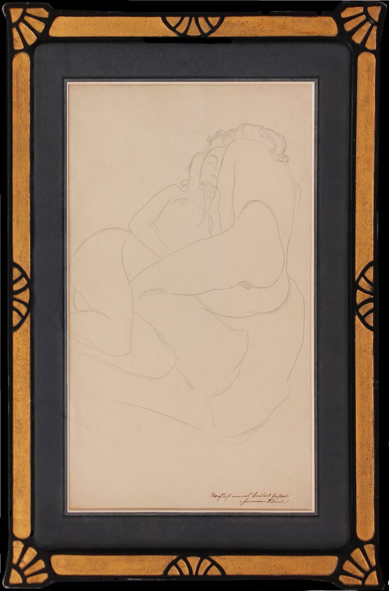 Gustav KLIMT (1862-1918) The Two Friends   c. 1905/6 Graphite on paper Framed size 74.5 x 54 cms Dimensions unframed - 55 x 34.9 cms Stamped and inscribed lower right  from the Estate of Gustav Klimt: 'Nachlass meines Bruders Hermine Klimt' In