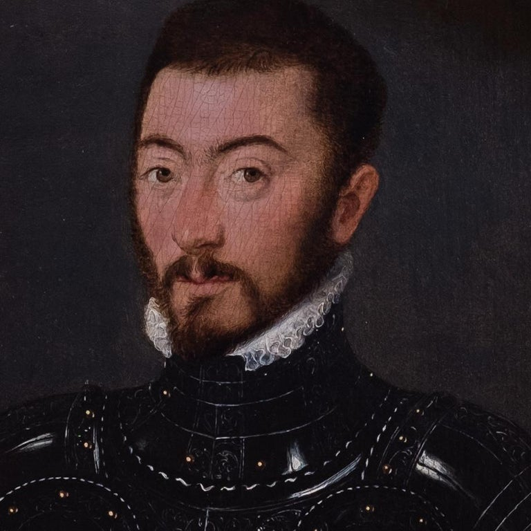 An exquisite 16th century painting of a Nobleman in Armour  - Old Masters Painting by French Court Painter circa 1560