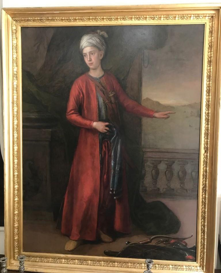 18th C. Portrait of the 4th Earl of Sandwich a View of Constantinople Beyond - Black Figurative Painting by Attributed to George Knapton