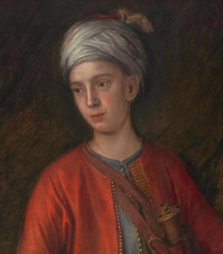18th C. Portrait of the 4th Earl of Sandwich a View of Constantinople Beyond - Painting by Attributed to George Knapton