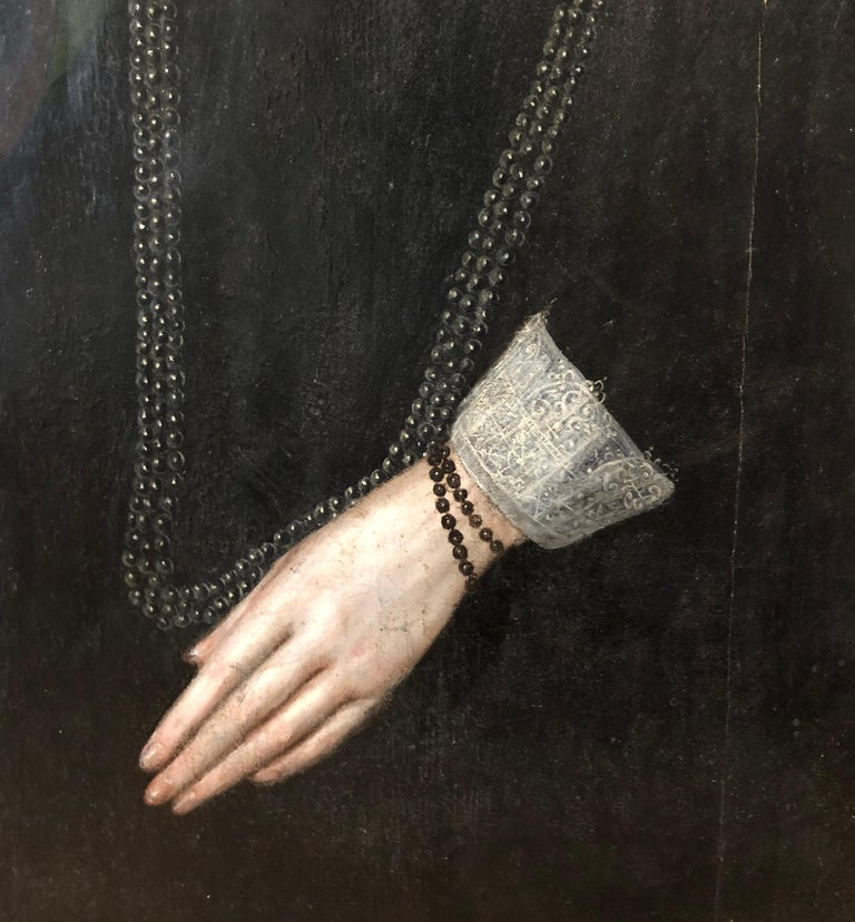 Lady Dormer, Mary Browne c. 1592  oil on panel 35 x 29 inches, unframed; 41 x 34.75 inches, inc. frame Inscribed 'Lady Dormore'  Mary married Henry Wriothesley, 2nd Earl of Southampton who gave birth to Henry Wriothesley, 3rd Earl of Southampton -