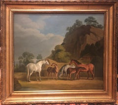 19th Century Oil painting of horses - Mares and Foals in a Landscape