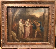 C.18th Oil painting: Neoclassical Scene of the Trojan War: Briseis & Achilles
