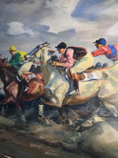 Impressionist 1910 Oil Painting by Angelo Jank of The Finish, The Horse Race