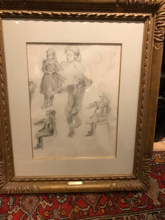 Early 20th Century Neo-Impressionist Portrait Drawing on Paper - Figural Studies