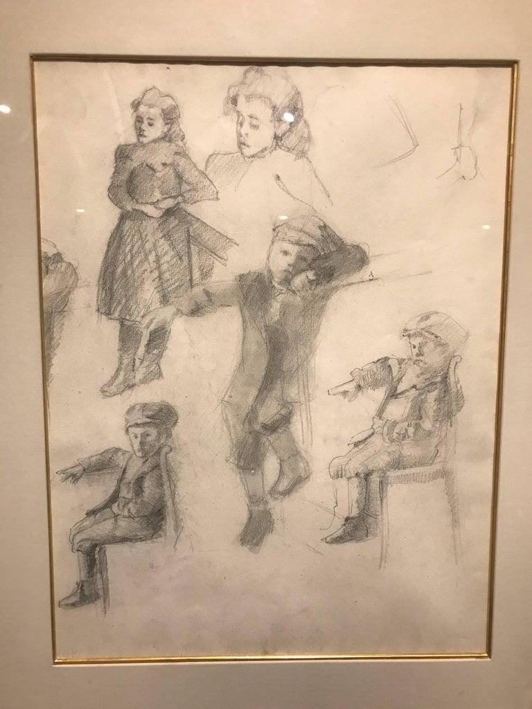 Early 20th Century Neo-Impressionist Portrait Drawing on Paper - Figural Studies - Art by Henri Edmond Cross