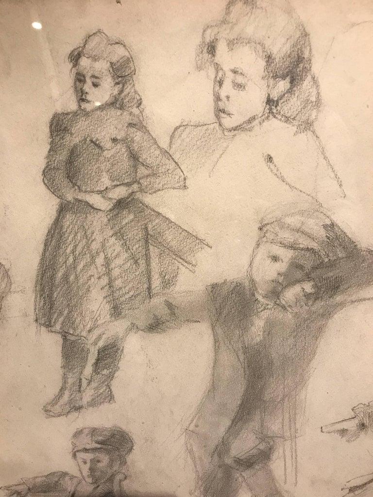 Early 20th Century Neo-Impressionist Portrait Drawing on Paper - Figural Studies - Post-Impressionist Art by Henri Edmond Cross