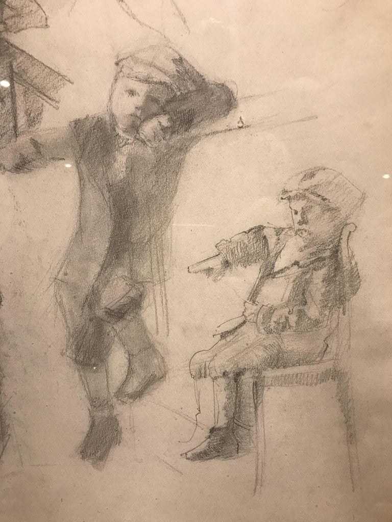 Early 20th Century Neo-Impressionist Portrait Drawing on Paper - Figural Studies - Brown Figurative Art by Henri Edmond Cross
