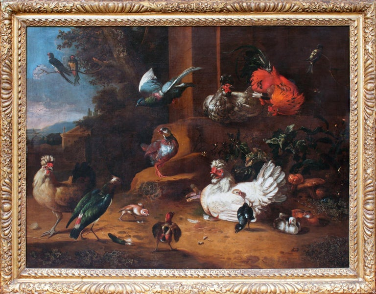 Adriaen Van OOLEN (1631 – 1694)  An Assembly of Birds  oil on canvas  66 x 52 ½ inches, inc. frame  Provenance: Sotheby's, Lot 176, 12th of December 1984 Geoffrey Bennison, Pimlico Road, London Private Collection, Wiltshire  The artist has been