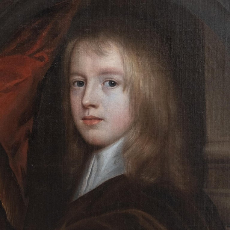 17th Century Oil Painting Portrait of a Young English Boy - Black Portrait Painting by Gerard Soest
