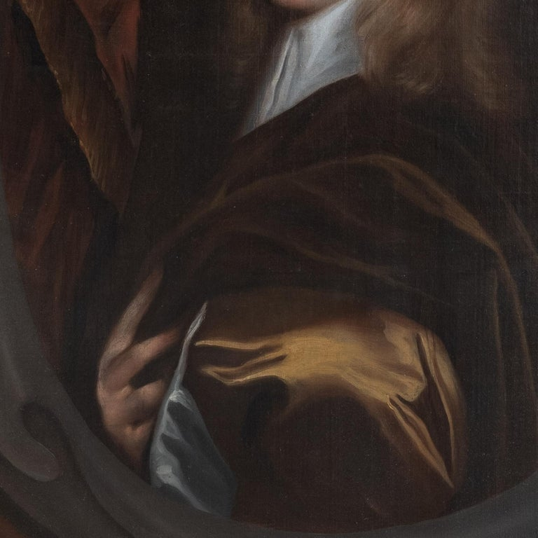 17th Century Oil Painting Portrait of a Young English Boy For Sale 1