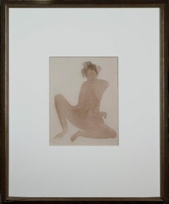 Rare Rodin Watercolour & Pencil on Paper of a Seated Nude - The Cambodian Dancer