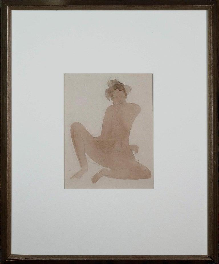 Auguste Rodin Figurative Art - Rare Rodin Watercolour & Pencil on Paper of a Seated Nude - The Cambodian Dancer
