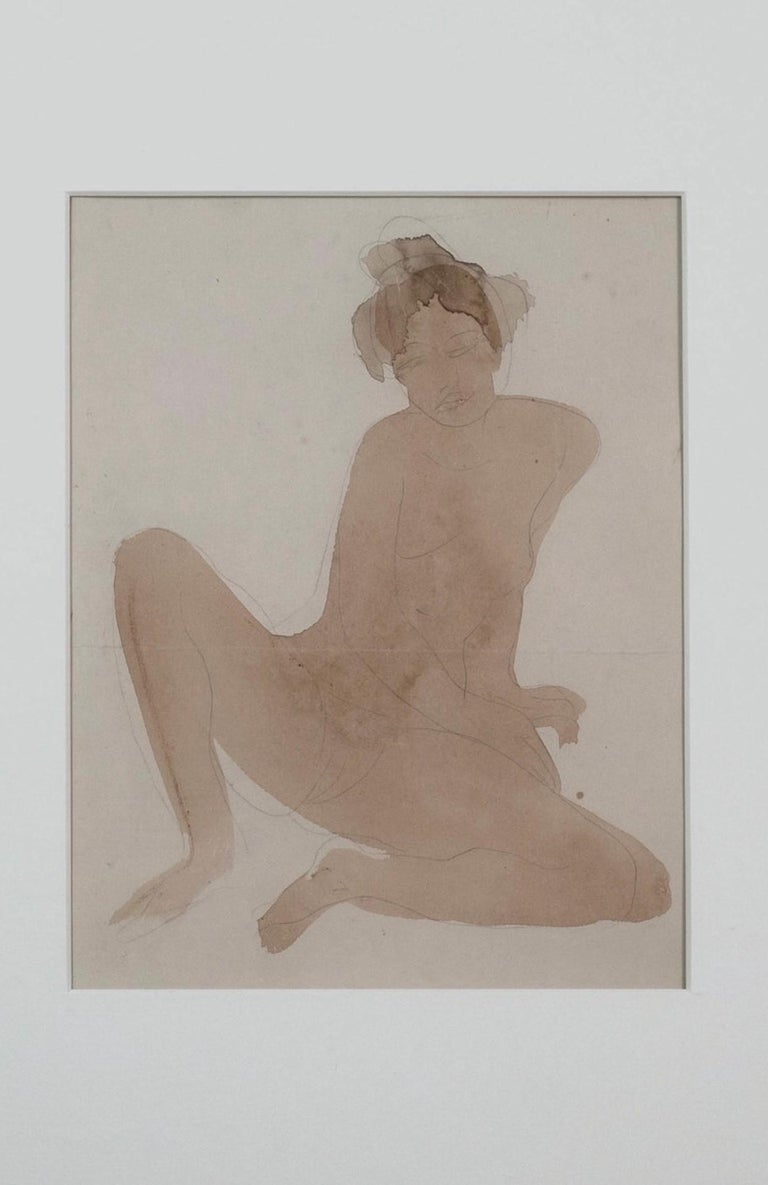 Rare Rodin Watercolour & Pencil on Paper of a Seated Nude - The Cambodian Dancer - Art by Auguste Rodin