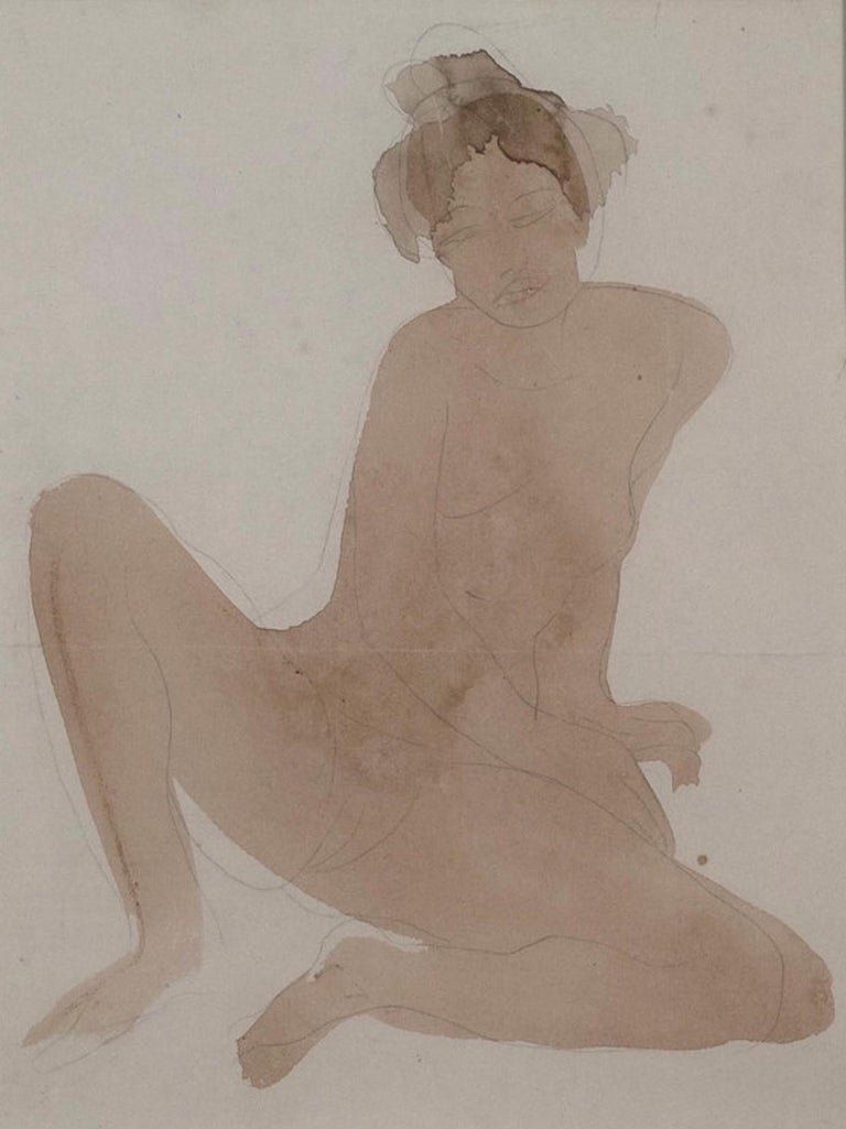 Rare Rodin Watercolour & Pencil on Paper of a Seated Nude - The Cambodian Dancer - Realist Art by Auguste Rodin