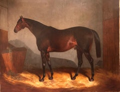 19th Century Oil Painting of Bay Race Horse in a Stable