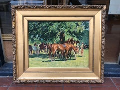 Impressionist Oil Painting of Polo Horses - In the Pony Lines