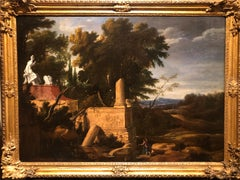 17th Century French Oil Painting Landscape with Classical Ruins